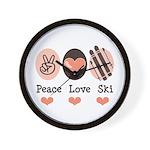 Peace Love Ski Skiing Wall Clock
