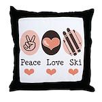 Peace Love Ski Skiing Throw Pillow