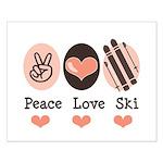 Peace Love Ski Skiing Small Poster