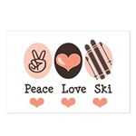 Peace Love Ski Skiing Postcards (Package of 8)