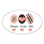Peace Love Ski Skiing Oval Sticker