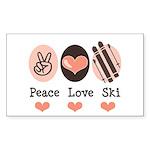 Peace Love Ski Skiing Rectangle Sticker