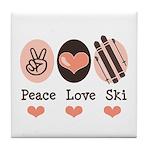 Peace Love Ski Skiing Tile Coaster