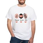 Peace Love Ski Skiing White T-Shirt