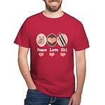 Peace Love Ski Skiing Dark T-Shirt