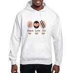 Peace Love Ski Skiing Hooded Sweatshirt