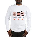 Peace Love Ski Skiing Long Sleeve T-Shirt