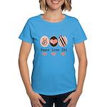 Peace Love Ski Skiing Women's Dark T-Shirt