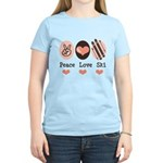 Peace Love Ski Skiing Women's Light T-Shirt