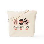 Peace Love Ski Skiing Tote Bag