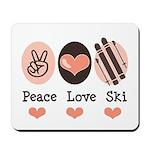Peace Love Ski Skiing Mousepad
