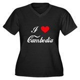 I Love Cambodia Women's Plus Size V-Neck Dark T-Sh
