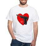 Love Gun Pistol White T-Shirt