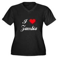 I Love Zambia Women's Plus Size V-Neck Dark T-Shir