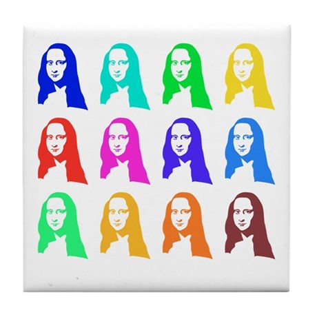 Retro Mona Lisa graphic Tile Coaster