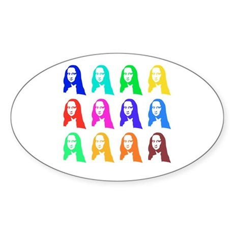 Retro Mona Lisa graphic Oval Sticker