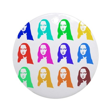 Retro Mona Lisa graphic Ornament (Round)