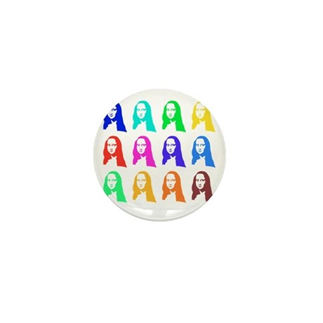 Retro Mona Lisa graphic Mini Button (10 pack)