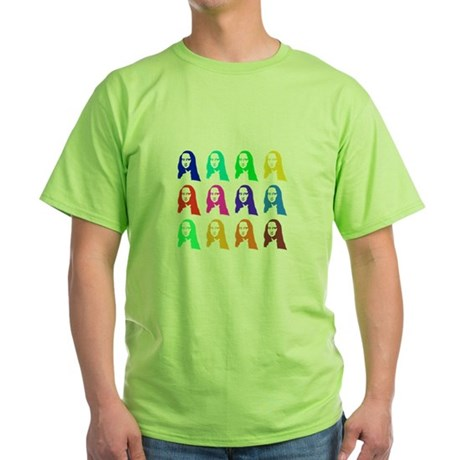 Retro Mona Lisa graphic Green T-Shirt