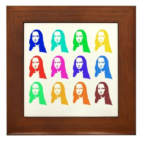 Retro Mona Lisa graphic Framed Tile