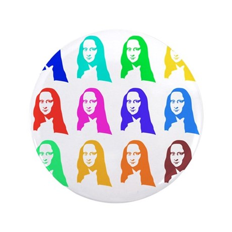 "Retro Mona Lisa graphic 3.5"" Button"