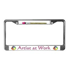 Artist at Work (on white) License Plate Frame