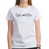 Navy Wife with red heart Tee