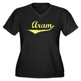 Aram Vintage (Gold) Women's Plus Size V-Neck Dark