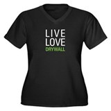 Live Love Drywall Women's Plus Size V-Neck Dark T-