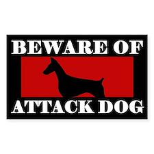 Beware of Attack Dog Doberman Pinscher Decal