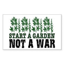 START A GARDEN NOT A WAR Rectangle Decal