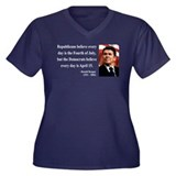 Ronald Reagan 10 Women's Plus Size V-Neck Dark T-S