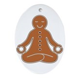 Meditating Gingerbread Man Oval Ornament
