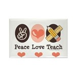 Peace Love Teach Teacher Rectangle Magnet