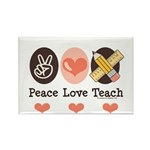 Peace Love Teach Teacher Rectangle Magnet (100 pac