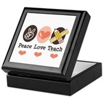 Peace Love Teach Teacher Keepsake Box