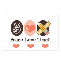 Peace Love Teach Teacher Postcards (Package of 8)