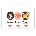 Peace Love Teach Teacher Rectangle Sticker