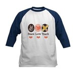 Peace Love Teach Teacher Kids Baseball Jersey