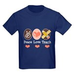 Peace Love Teach Teacher Kids Dark T-Shirt