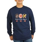 Peace Love Teach Teacher Long Sleeve Dark T-Shirt