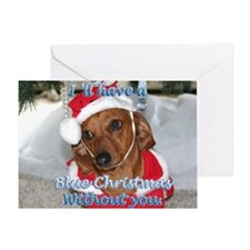 Blue Christmas Dachshund Greeting Card