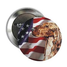 "Irish Setter Dog 2.25"" USA Flag Button (100 pack)"