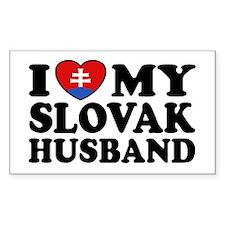 I Love My Slovak Husband Rectangle Decal