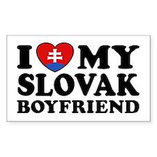 I Love My Slovak Boyfriend Rectangle Decal