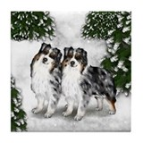 AUSTRALIAN SHEPHERD DOGS SNOW FOREST Tile Coaster