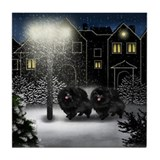 POMERANIAN DOGS SNOW CITY Tile Coaster