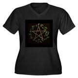 Leaf Pentacle Women's Plus Size V-Neck Dark T-Shir