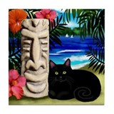 BLACK CAT TIKI POLE Tile Coaster