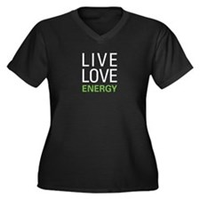 Live Love En Women's Plus Size V-Neck Dark T-Shirt